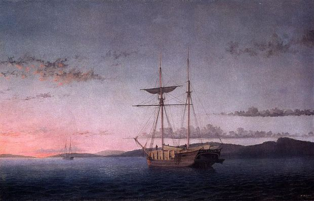 Lumber Schooners at Evening on Penobscot Bay (1863) by Fitz Henry Lane. Retrieved from Wikimedia Commons. Located at the National Gallery of Art.