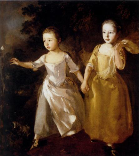 The Painter's Daughters chasing a Butterfly by Thomas Gainsborough c. ~1756